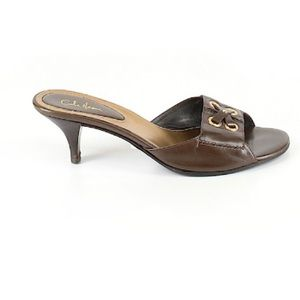 Cole Haan Size 8B Brown Leather Slide In Sandals